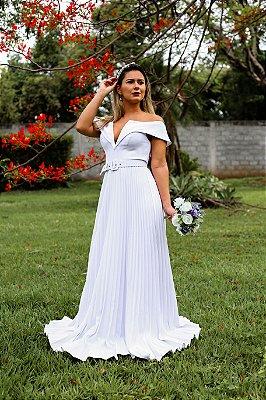 Vestido de casamento simples com decote V saia plissada, Tainara