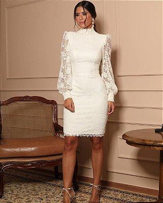 Vestido midi renda branco off com manga longa bordado, noiva, casamento civil, batizado, aniversário