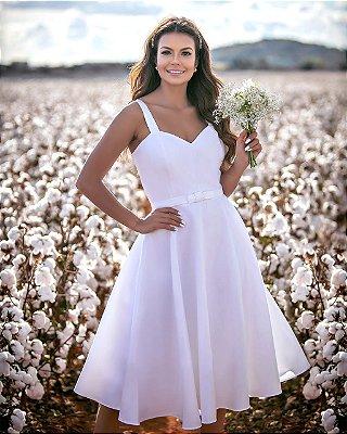 Vestido midi branco lady like com cinto de laço