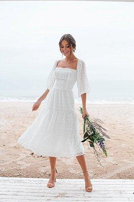 Vestido de noiva manga boho midi