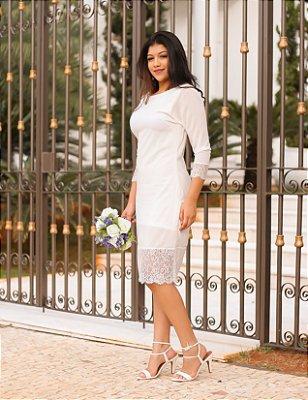 Vestido midi tubinho para casamento civil, noivado, bodas e outros.