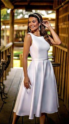 Vestido midi de noiva branco no zibeline costa decote V