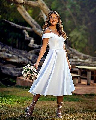 Vestido para casamento civil ombro a ombro de alças