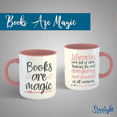 Caneca | Books are Magic - Citação de Trono de Vidro