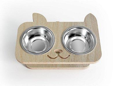 Comedouro e Bebedouro Elevado para Gatos em Inox