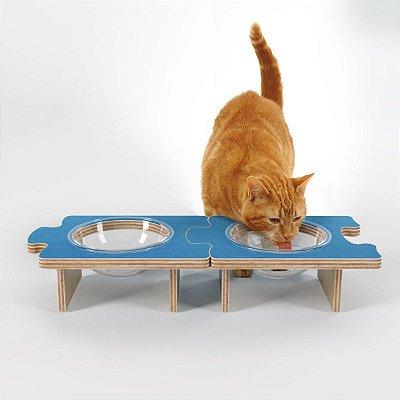 Comedouro e Bebedouro Elevado para Gatos (um módulo)