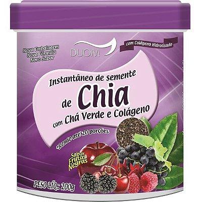 Instantâneo de Chia com Chá Verde e Colágeno 200g Sabor Frutas Negras Duom