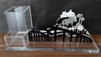 Organizador de Mesa em Acrílico - Convento da Penha em 3D e Terceira Ponte