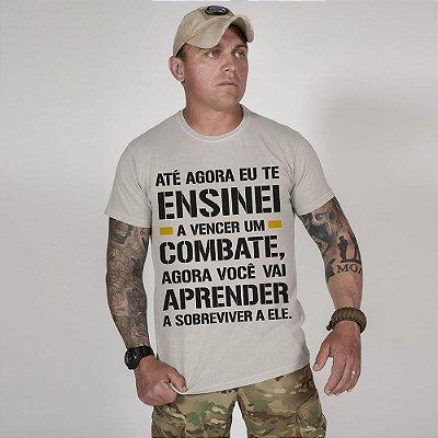 Camiseta de Algodão Estonada Cinza Fight And Survive