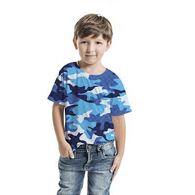 Camiseta Básica Infantil Camuflado Azul