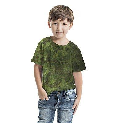 Camiseta Básica Infantil Camuflado Degradê Verde