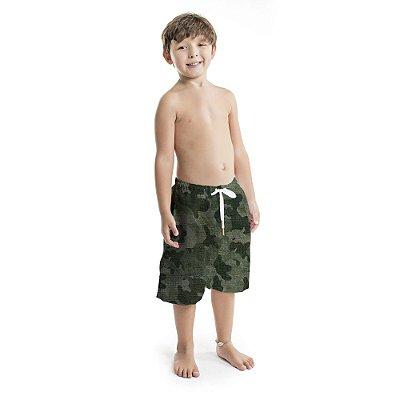 Bermuda Infantil Masculina  Camuflado Verde