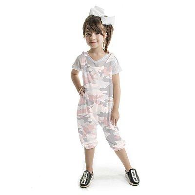 Macacão Infantil de Amarar Camuflado Rosa