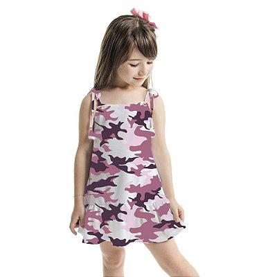 Vestido Infantil Amora Camuflado Lilás