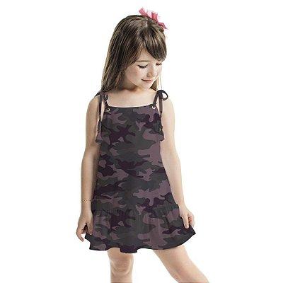 Vestido Infantil Amora Camuflado Lilás e Chumbo