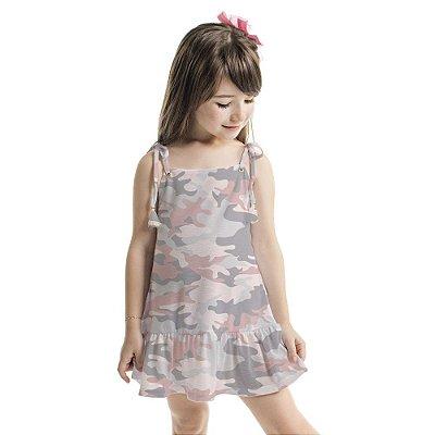 Vestido Infantil Amora Camuflado Rosa
