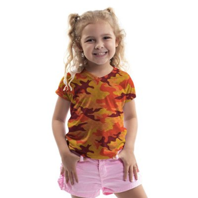 Baby Look Florata Infantil Camuflado Laranja