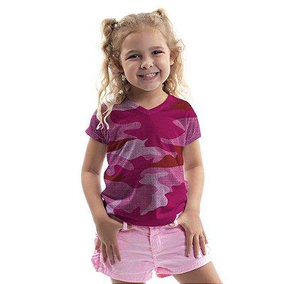 Baby Look Florata Infantil Camuflado Pink