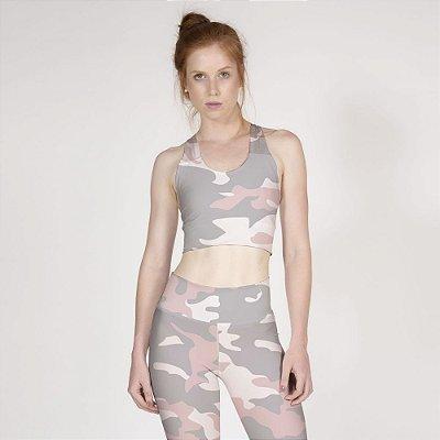 Top Fitness Camuflado Rosa