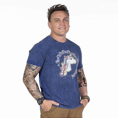 Camiseta de Algodão Estonada Sky Marinho Tactical Unicorn