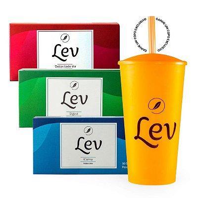Kit Lev sem cafeína - Detox + Digest + K'alma  (Ganhe um copo Lev)
