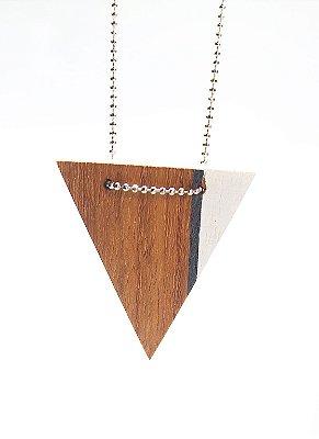 Colar Madeira Triângulo Branco e Cinza