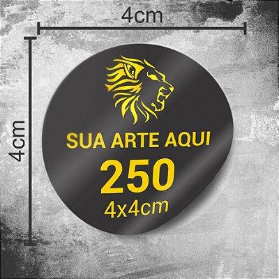250 Adesivos Personalizados 4x4cm Redondo