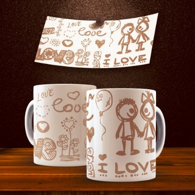 Caneca Love Brown Pencil 325ml