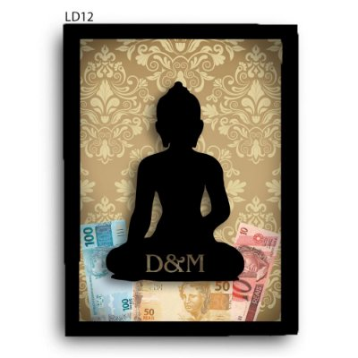 Quadro Cofre Buda com Iniciais LDQC14