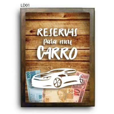 Quadro Cofre Reservas para Meu Carro LDQC31