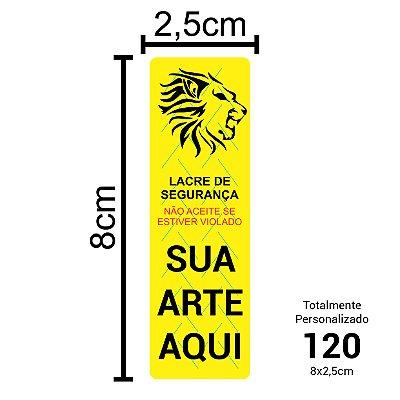 120 Lacres de Segurança Adesivos Personalizados 8x2,5cm