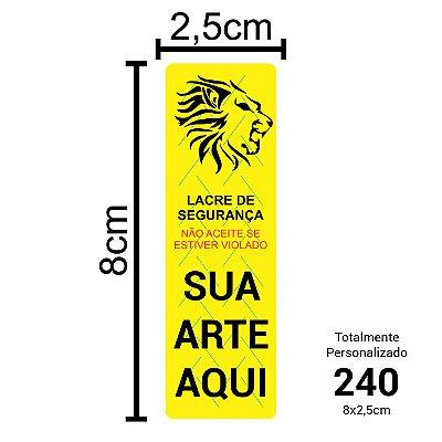 240 Lacres de Segurança Adesivos Personalizados 8x2,5cm