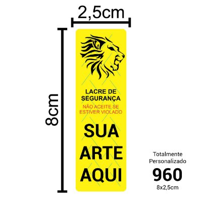 960 Lacres de Segurança Adesivos Personalizados 8x2,5cm