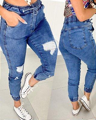 Calça Jogger Jeans Desfiados