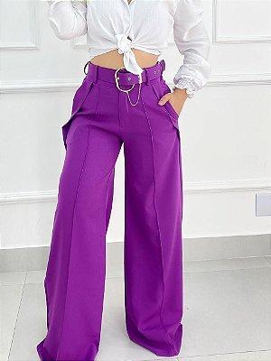 Calça Alfaiataria Pantalona Com Cinto