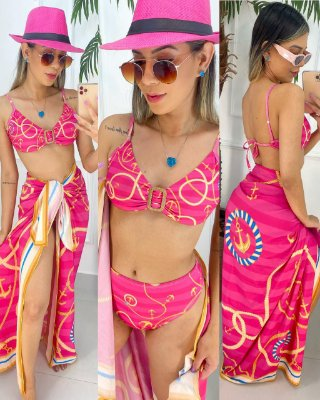 Conjunto Biquíni Argola E Saída Pink Âncoras