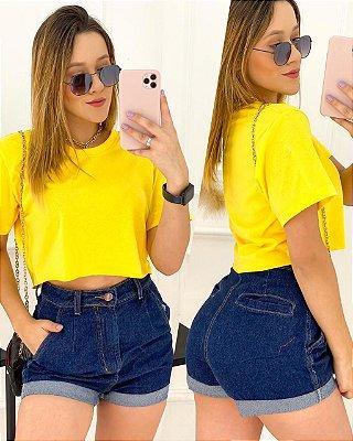 Short Jeans Barra Dobrada Escuro