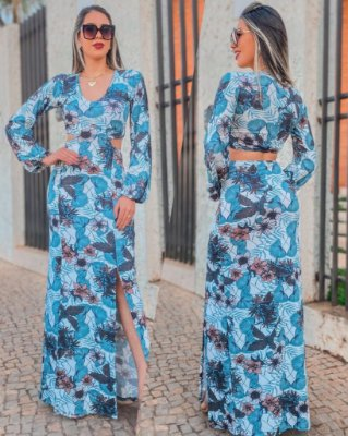 Vestido Frente Única Cortes Estampa Azul