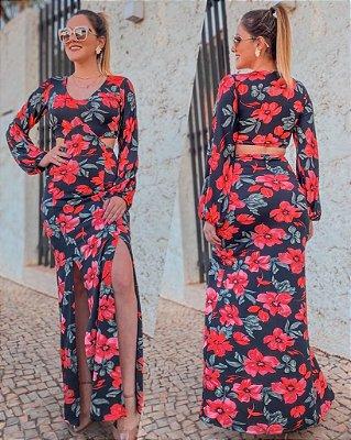 Vestido Frente Única Cortes Preto Estampa Flores Vermelhas