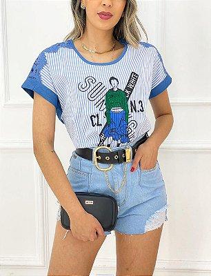 T-Shirt Azul Listras Renda Estampa
