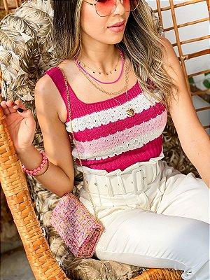Top Tricot Alcinha Listras Marsala, Off-White e Rosê