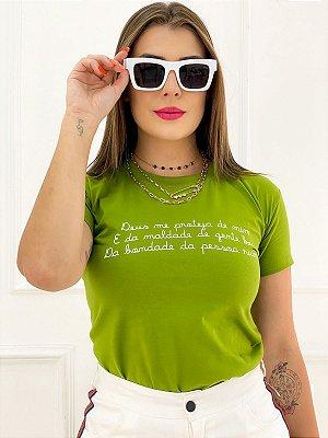 T-Shirt Estampa Deus Me Proteja De Mim