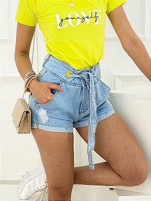 Short Jeans Com Cinto Two Buttons