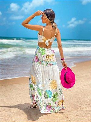 Vestido Longo Decote Alcinha Estampa Praia