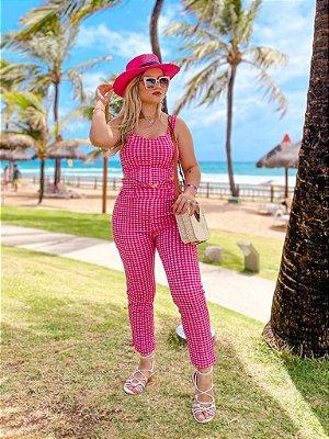 Conjunto Cropped Bico E Calça Xadrez Pink