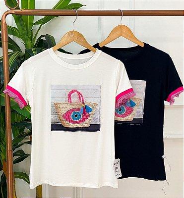 T-Shirt Viscolaicra Manga Babado Rosa Estampa Bolsa