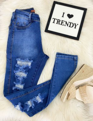 Calça Jeans Rasgado Alto Meio Escuro