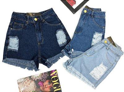 Shorts Jeans Destroyed barra desfiada