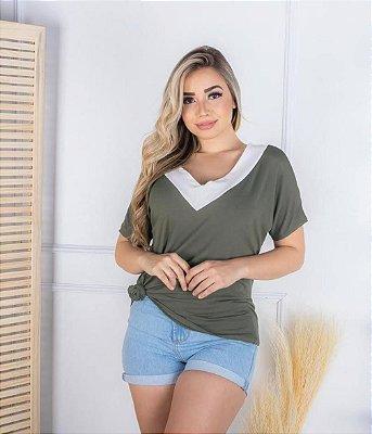 Blusa Gola V Bicolor