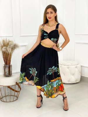 Conjunto Saia e Top Tropical Preto
